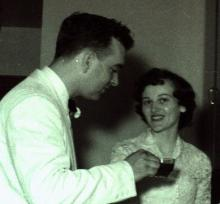 John B Denune, and Georgia Ann (Brohard) Denune on their wedding day