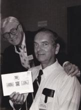 Johhn Denune at 1981 Precancel Stamp Show in Columbus, OH with local newsman, Pill Pepper