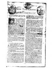 Bradford's New-York Gazette 7 July 1729, page 1