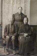 George Washington Brohard and his sister-in-law Marilla Bailey Brohard, Standing: Matilda Bailey Brohard, George's wife